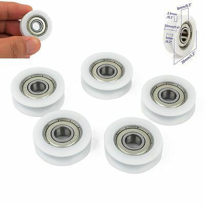 5 Pcs Plastic Embedded 608 U Groove Ball Bearings 8mm X 30mm X10mm Guide Pulley