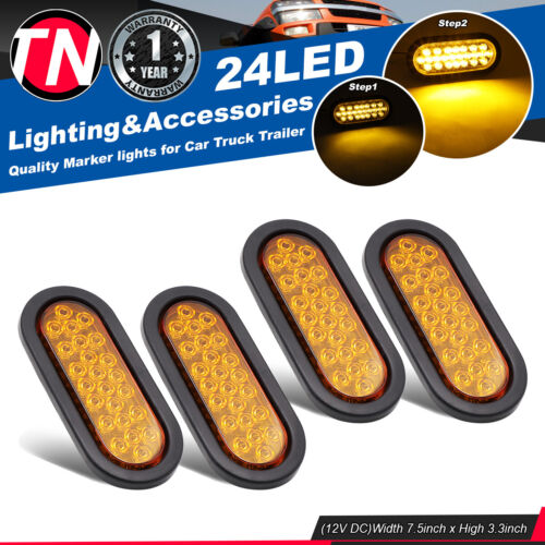 2 X 3 LED Smoked Amber Fender Signal Tail Light Lorry Trailer RV Pickup Truck