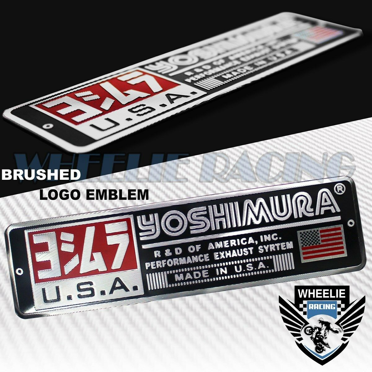 Details about metal 5 53d brushed aluminum emblem decal yoshimura logo letter fairing sticker