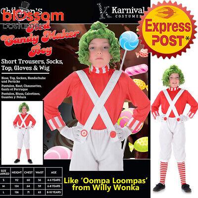 r Willy Wonka Wig Oompa Loompa Book Week Boys Kids Costume (Willy Wonka, Oompa Loompa)