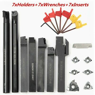 7 Set 12mm Lathe Turning Tool Holder Boring Bar 7pcs Dcmt Ccmt Carbide Inserts