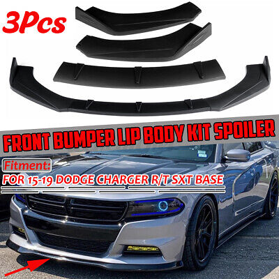 3x Front Bumper Lip Spoiler Splitters Matte For Dodge Charger SXT Base 2015-2019