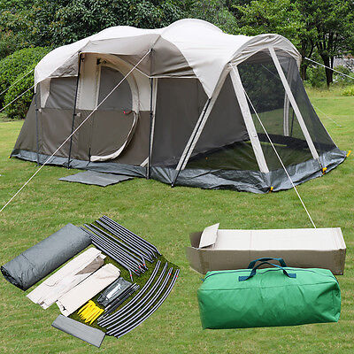 6 Person 3 Room Waterproof Camping Tent Double Layer Family Outdoor Hiking W/Bag