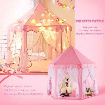 Girls Pink Princess Castle Cute Playhouse Children Kids Play Tent Outdoor Toys - Pink Tent