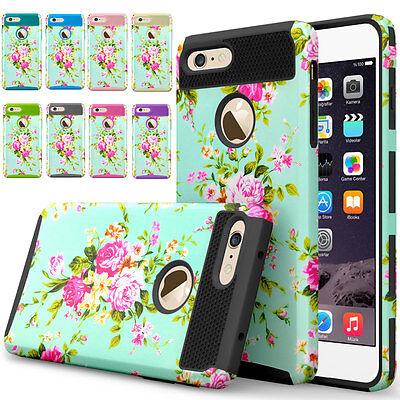 Floral Shockproof Hybrid Rugged Rubber Gel Case Cover For iPhone 6 6s Plus Black