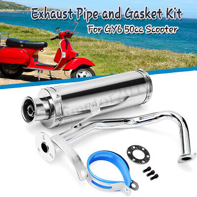 - Chrome GY6 125CC 150CC Scooter High Performance Exhaust Muffler Pipe Slip On US