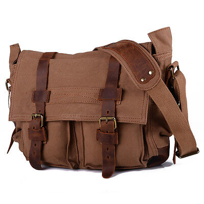Men Vintage Style Canvas Leather Satchel Military School Shoulder Messenger Bag