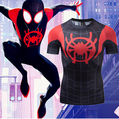 Men Gym T Shirt Compression Top Superhero Avengers Marvel Muscle Spiderman Shirt