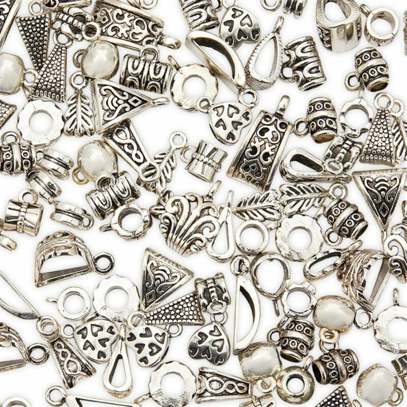 Silver Charms for Jewelry Making, Funky Abstract Pendants (0.25-0.5 in, 150 Pcs)