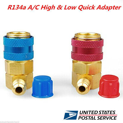 Car AC R134a A/C Manifold Gauge Conversion Kit High&Low Angle Quick Adapter ACME