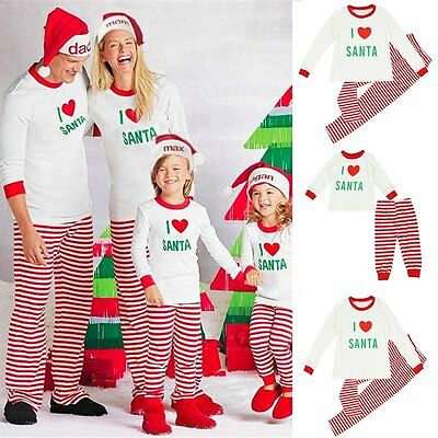 Family Matching Christmas Pajamas Set Women Baby Kids SANTA Sleepwear Nightwear - Santa Pajamas Kids