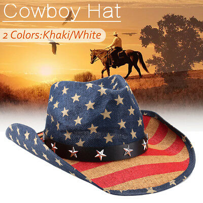Women Men Straw Western Sombrero Cowboy Hats Cowgirl Caps American Flag  - Red Sombrero