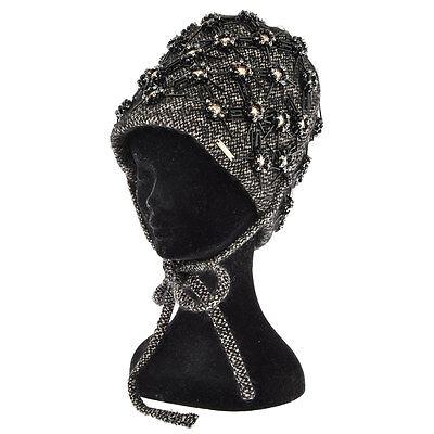 DSQUARED2 D2 New Woman Black Wool Tweed Rhinestones Cloche Hat Cap Bonnet Beanie