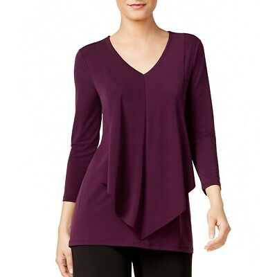 ALFANI NEW Women's Layered-look Draped-front Blouse Shirt Top TEDO