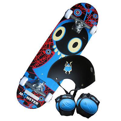 """28"""" Kids Monster Skateboard Set - Board,Knee-Elbow Pads,Helmet (Free Backpack)"""