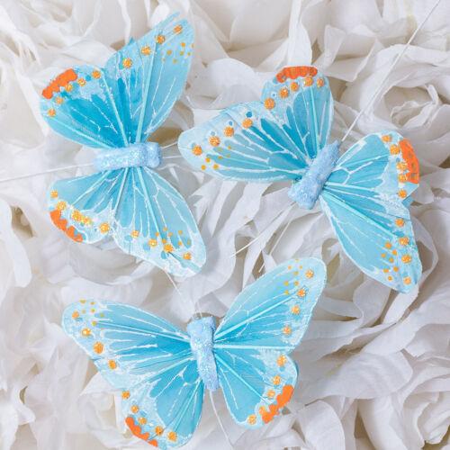 """3"""" Artificial Decorative Light Blue Feather Butterflies - 12pcs Butterfly Craft"""