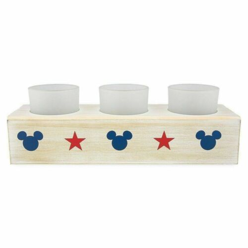 Disney Parks Exclusive Vintage Mickey Mouse Americana 3 Candle Votive Holder Box