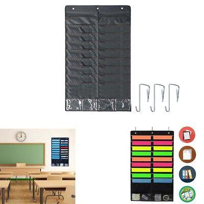 - 18p Fabric Pocket Chart Storage Office School Hanging Wall File Folder Organizer
