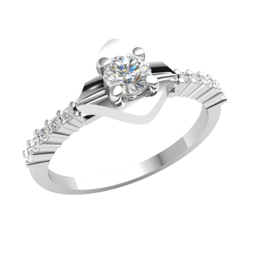 14k Gold Engagement Ring 0.4ctw Natural Round Diamond For Women Solitaire