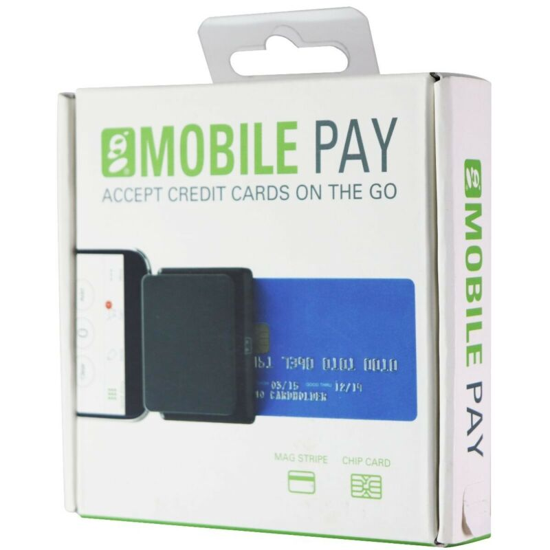 Global Payments Mobile Pay Credit Card Square/Chip Reader for On The Go - Black