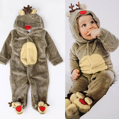 Christmas Baby Boy Girl Reindeer Costume Romper Hooded Jumpsuit Bodysuit Outfit](Reindeer Baby Costume)
