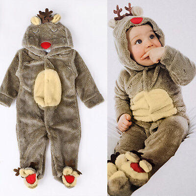 Christmas Baby Boy Girl Reindeer Costume Romper Hooded Jumpsuit Bodysuit Outfit