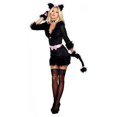 Dreamgirl Cattitude Katze Kätzchen Rosa Schleife Frauen Sexy Halloween Kostüm
