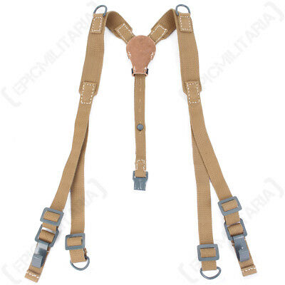 Suspender Genuine Military Issue Green Web Yoke Brace 6 Point Strap NEW