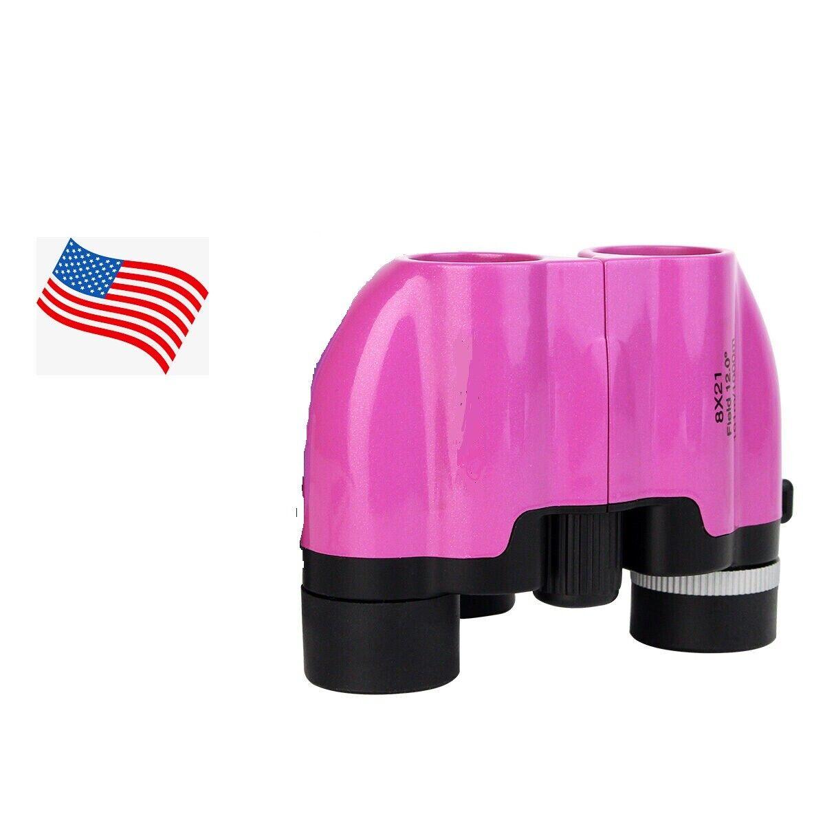 Mini Portable Day/Night 8×21 Zoom Binoculars Optics Hunting Camping US Pink Binoculars & Monoculars