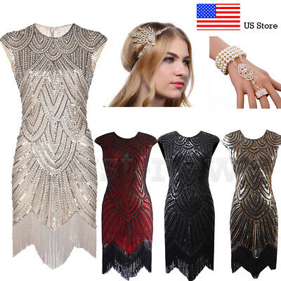 1920s Flapper Dresses Great Gatsby Party Gown Roaring 20s Cocktail Evening Dress - Roaring 20 Dresses