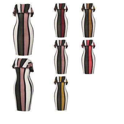 FashionOutfit Women's Pinstripe Ruffle Tube Top Body-Con Mini Dress ()