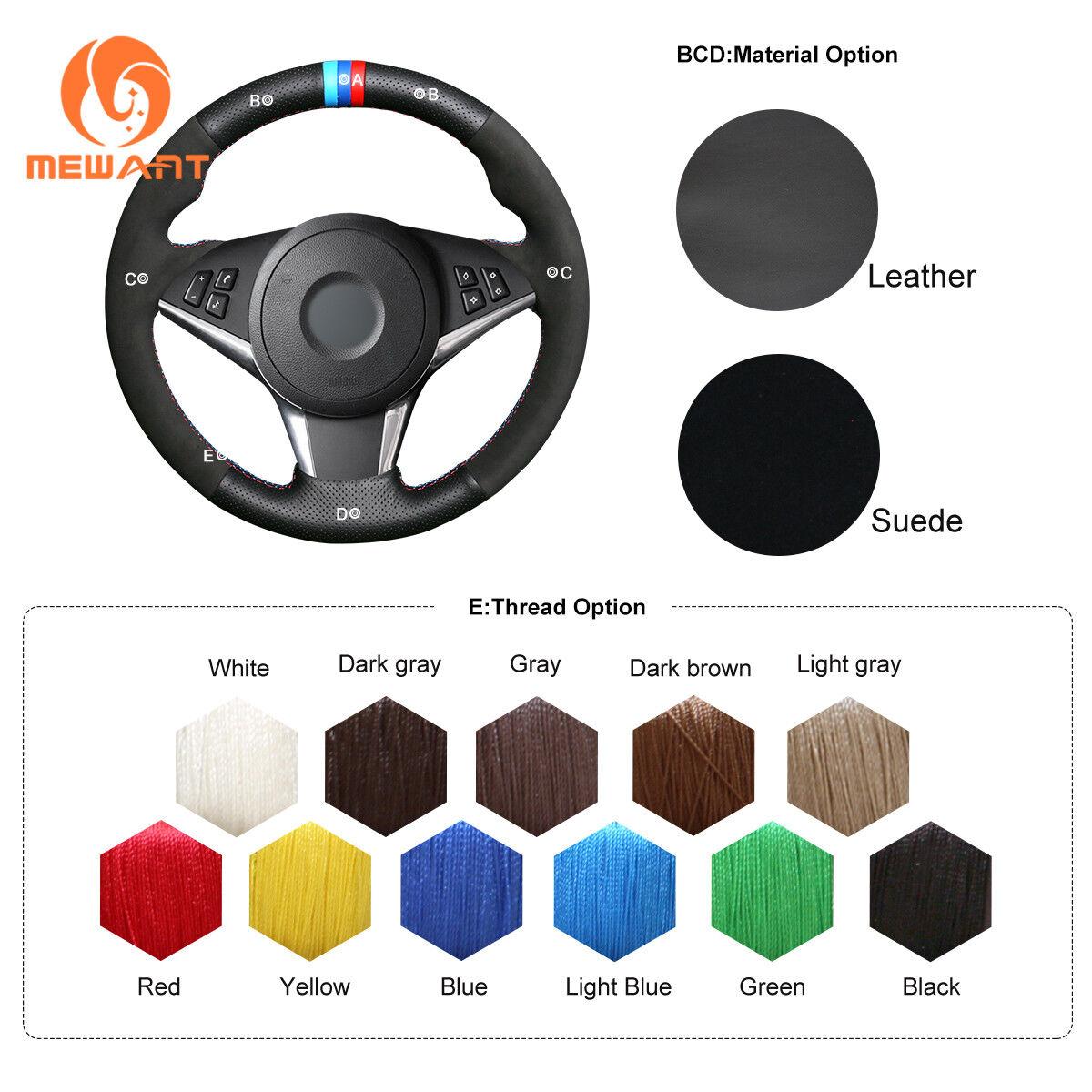 DIY Black Suede Steering Wheel Cover for BMW E60 530d 545i 550i E64 #01171