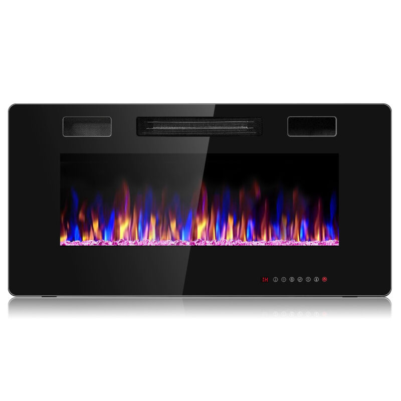 """36"""" Electric Fireplace Heater Recessed Ultra Thin Wall Mounted Multicolor Flame"""