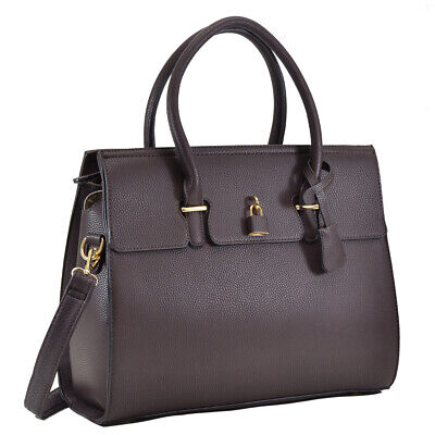 Dasein Women Handbag Faux Leather Satchel Tote Bag Padlock Medium Purse Faux Leather Medium Tote Bag