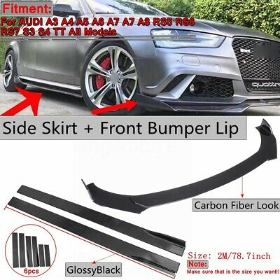 Front Bumper Lip Spoiler +2m Side Skirts Body Kit For AUDI A3 A4 A5 A6 A7 A7 Q3