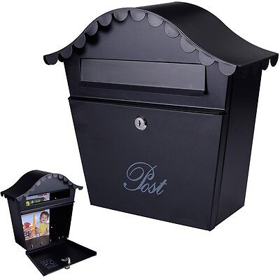 Wall Mount Black Mail Box  W  Retrieval Door   2 Keys Steel  Mailbox New