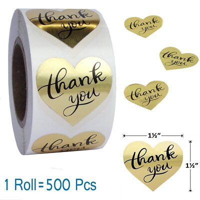 Sticker Rolls (1 Roll Love Heart Shape Gold Foil Thank You Stickers Easy-pull  Adhesive)