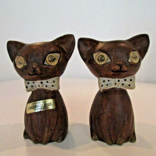 Vintage Wooden Cat Salt & Pepper Shakers with Winking Eyes Mid Century