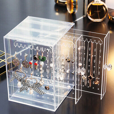 Dustproof Acrylic Jewelry Earring Display Necklace Holder Storage Box Cabinet