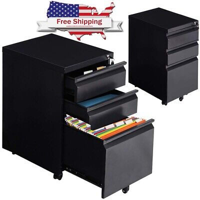 Steel Rolling Storage 3 Drawers File Cabinet Caster Office Home Organizer Lock