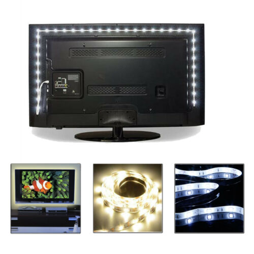 Image of 1m 2m 3m 5v White Led Strip Light Usb Powered Tv Pc Back Mood Lighting Xmas Lamp