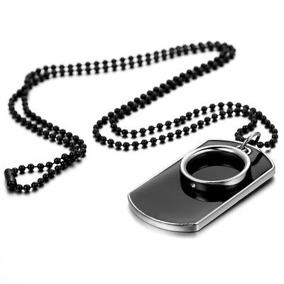 Men's Stainless Steel Black Ring Dog Tag Pendant Necklace w Bead Chain (Beads Necklace)