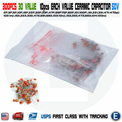 30value 300pcs 50v Monolithic Ceramic Chip Mono Capacitor Assortment Kit