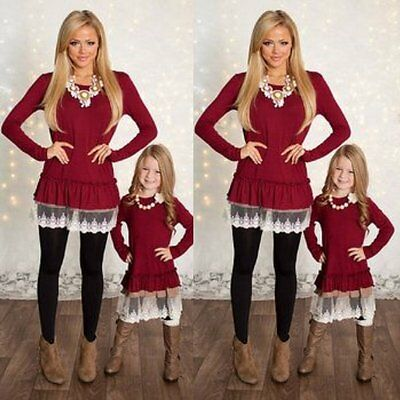 Mother Daughter Long Sleeve Dress Women Girls Lace Dresses Family Outfit Clothes