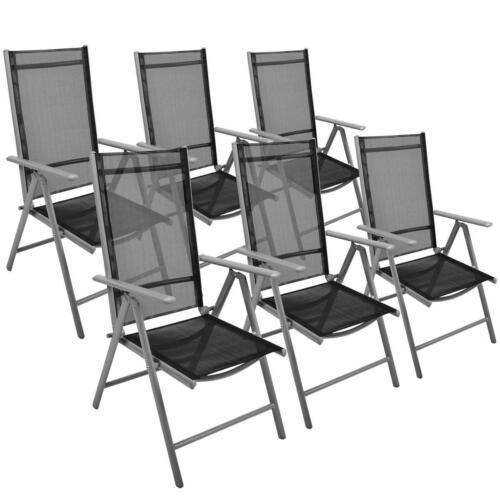 6er Set Klappstuhl  schwarz Aluminium Gartenstuhl Alu Campingstuhl Hochlehner