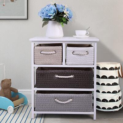 4 Woven Basket Drawer Storage Unit Rack Shelf Chest Cabinet Nightstand White ()