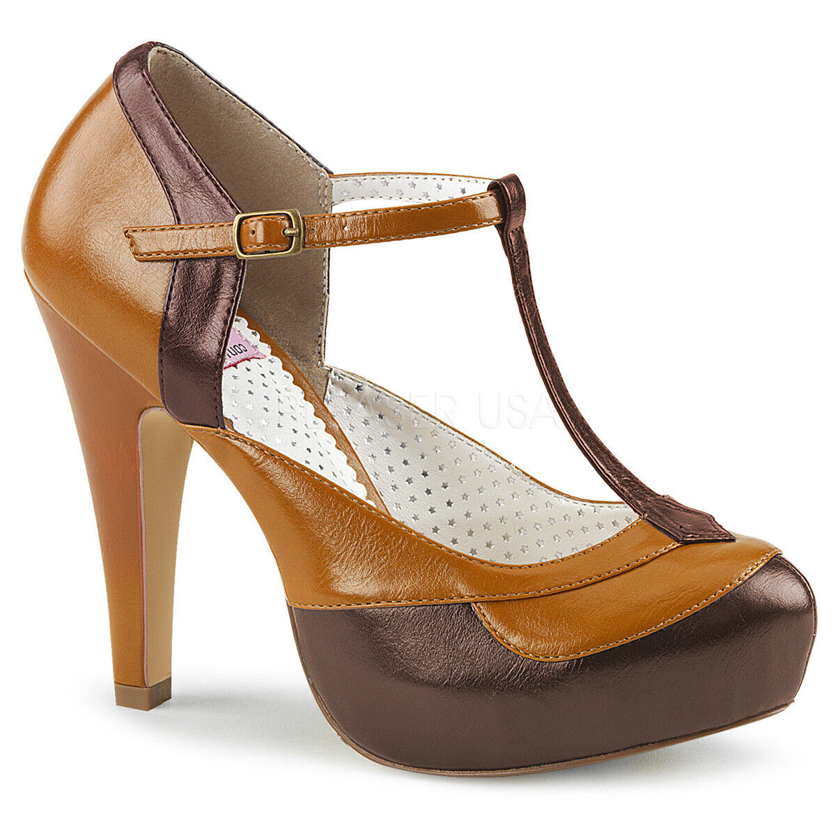 Pin Up Couture BETTIE-29 Womens Dark Brown Maple Faux Leather Heel Platform Pump
