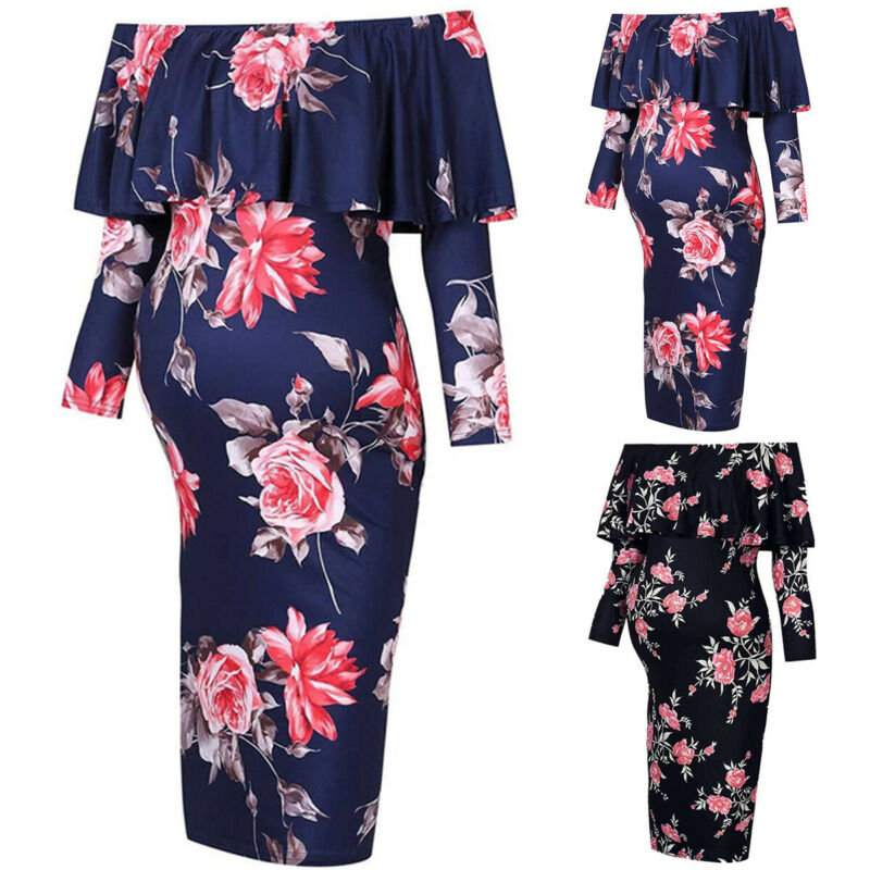 Pregnant Women Floral Mini Dress Maternity Summer Off Shoulder Dress Gown Party Clothing, Shoes & Accessories