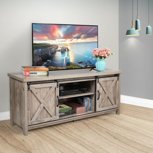 """58"""" Farmhouse Sliding Barn Door TV Stand for TVs up to 60"""" Television Stand Gray"""