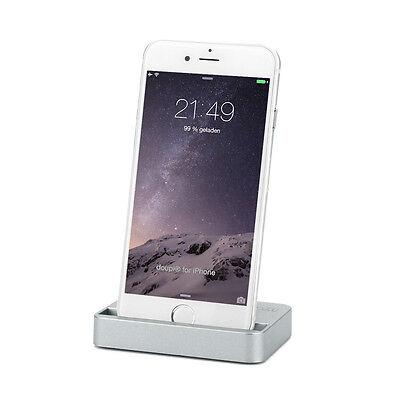 Dockingstation iPhone 8 7 6 6S Plus 5 5C 5S SE iPod Lade Ständer Daten Sync Grau